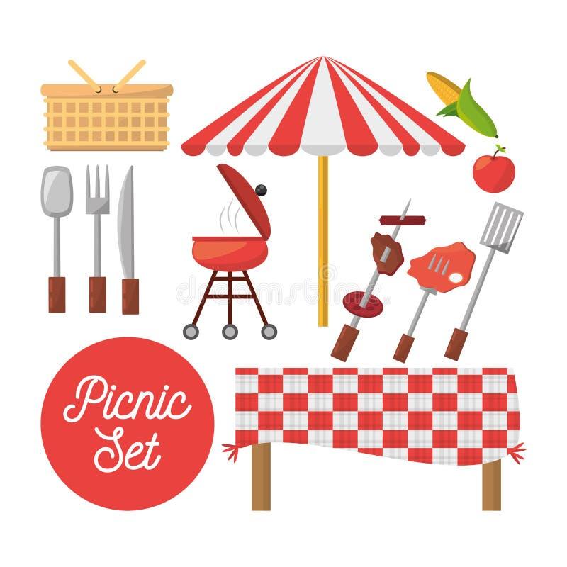 Gesetzte Ausrüstung des Picknicks wendet Bild ein vektor abbildung