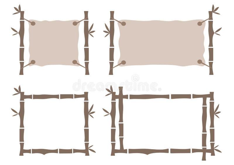 Gesetzte Bambusrahmenschablone f?r tropisches Schild Sch?ner Rahmen f?r eine Abbildung oder irgendein Bild Auch im corel abgehobe lizenzfreie abbildung