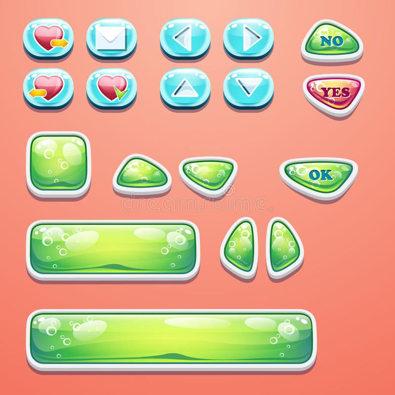 Gesetzte bezaubernde Knöpfe mit einem OKAYknopf, Knöpfe ja und nein zum Computerspieldesign und -Webdesign lizenzfreie abbildung