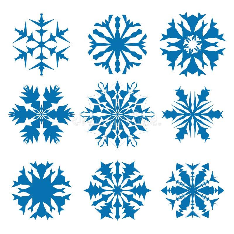 Gesetzte blaue Farbe des Schneeflockenvektorikonen-Hintergrundes Schneeflocken-Kristallelement des Winters wei?es Weihnachts Wett stock abbildung