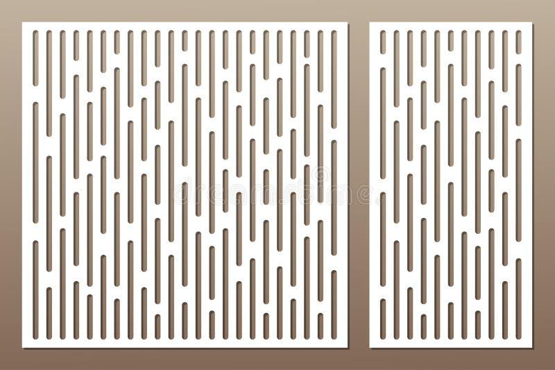 Gesetzte dekorative Karte für den Schnitt abstrakte Zeilen Muster Laser c vektor abbildung