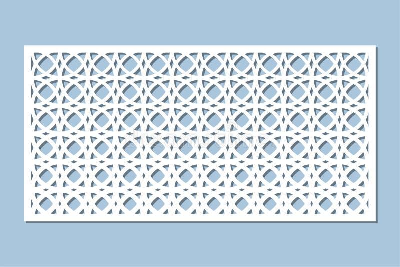 Gesetzte dekorative Karte für den Schnitt Arabeskenmuster Laser-Schnittplatte Verhältnis1:2 Auch im corel abgehobenen Betrag stock abbildung