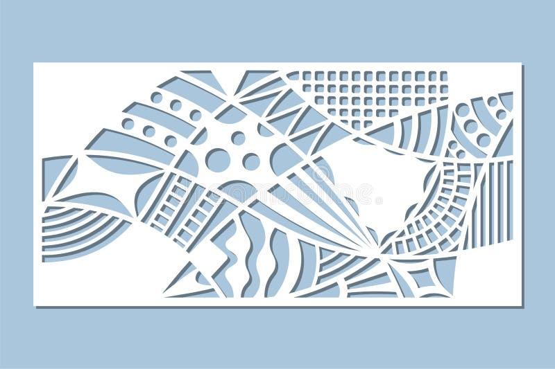 Gesetzte dekorative Karte für den Schnitt Gekritzellinie Muster Laser-Schnittplatte Verhältnis1:2 Auch im corel abgehobenen Betra stock abbildung
