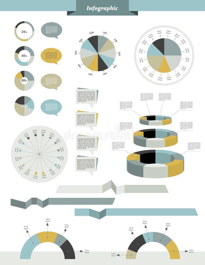 Gesetzte Elemente des grafischen Kreises der Informationen lizenzfreie abbildung