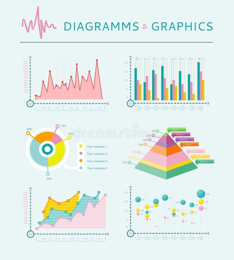 Gesetzte Elemente, Diagramm und Diagramme Infographic vektor abbildung