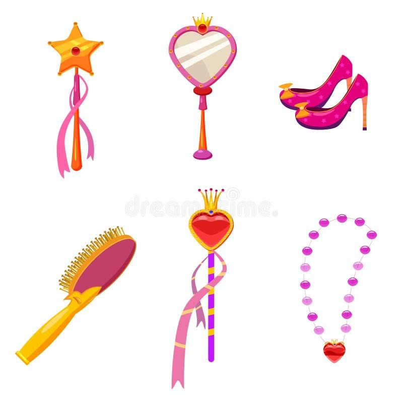 Gesetzte Elemente Prinzessin World und Attribute des Entwurfs Spiegel, Schuhe, Tiara, Haarbürste, magischer Stab Vektor, Illustr stock abbildung