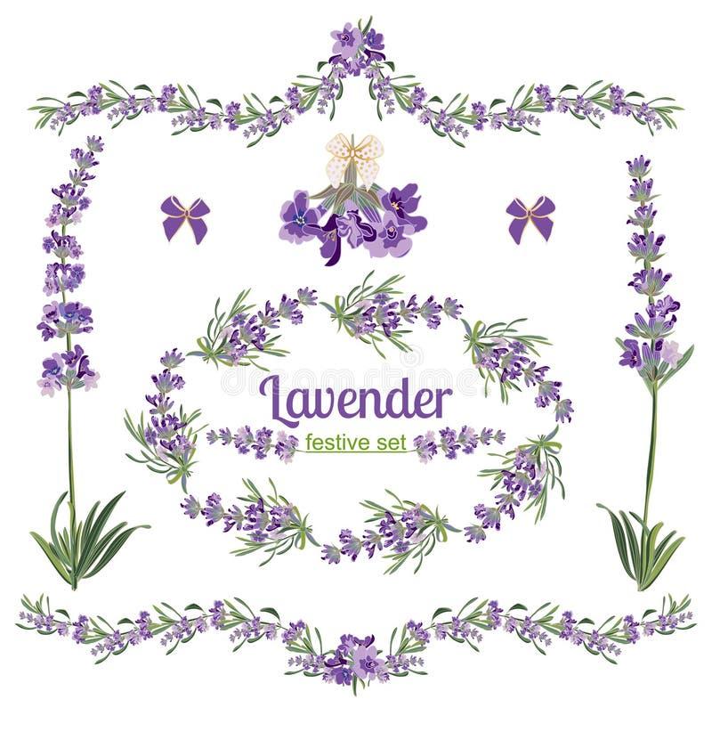 Gesetzte festliche Rahmen und Elemente mit Lavendelblumen für Grußkarte Botanische Illustration lizenzfreie abbildung