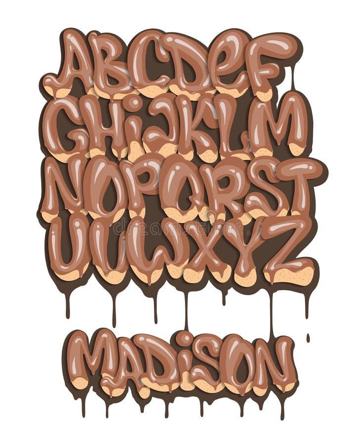 Gesetzte flüssige Gussart des Schokoladenalphabetes stock abbildung