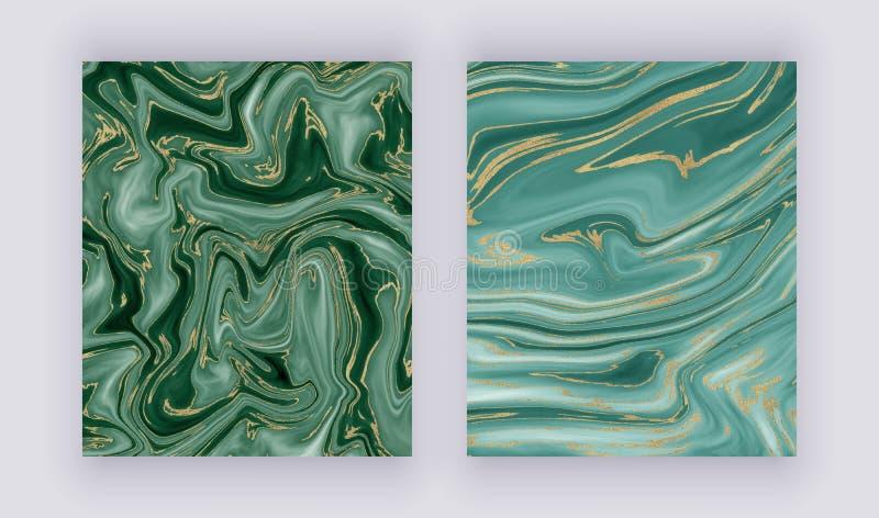 Gesetzte flüssige Marmorbeschaffenheit Grünes und goldenes Funkelntintenmalerei-Zusammenfassungsmuster Modische Hintergründe für  stockbild