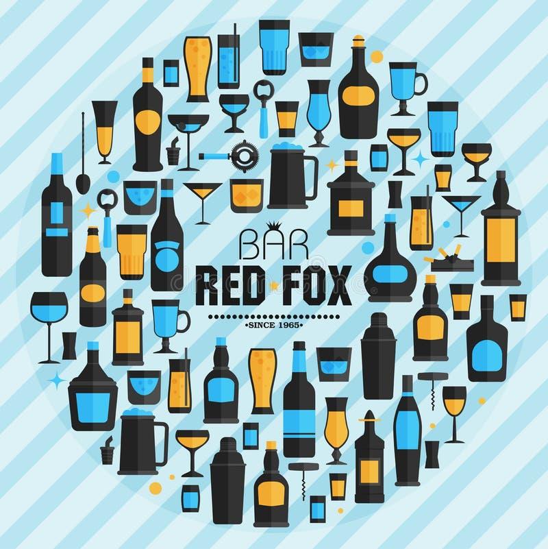 Gesetzte flache Art der Alkoholgetränk-Ikone, Illustration des Vektors eps10 lizenzfreie abbildung