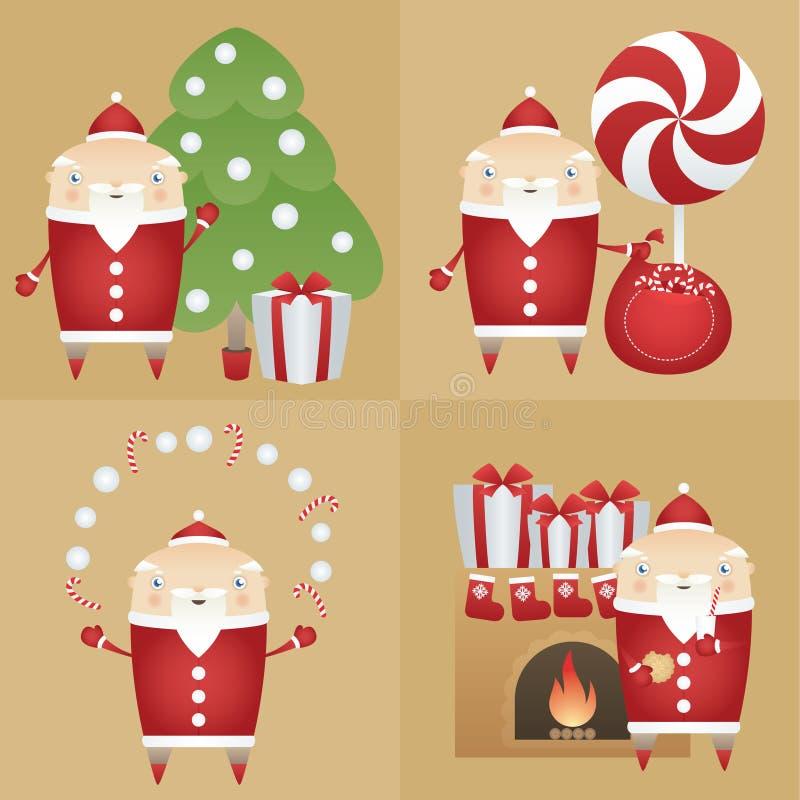 Gesetzte flache Ikone Santa Claus des Vektors mit Geschenkbox, Kiefer, Sack, Süßigkeiten, Plätzchen, Milch, Kamin vektor abbildung