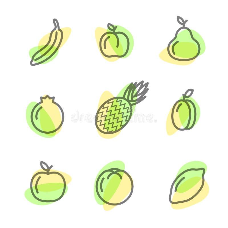 Gesetzte flache Ikonen von den Früchten, die Linien auf einem weißen Hintergrund zeichnen lizenzfreies stockbild
