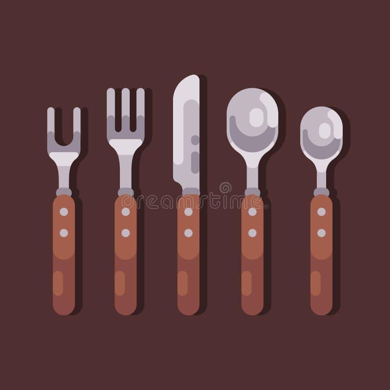 Gesetzte flache Illustration des Tischbestecks Gabeln, Löffel, Messer lizenzfreie abbildung