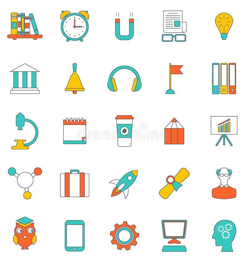 Gesetzte flache Linie Ikonen der Schulausrüstung und -werkzeuge vektor abbildung