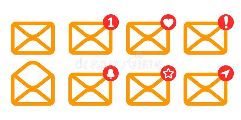 Gesetzte gelbe Buchstabeikone mit neuem, mögen, senden und ather Mitteilungen - Vektor lizenzfreie abbildung