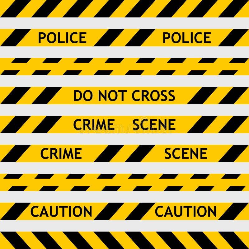 Gesetzte gelbe Polizei nimmt das Einschließen für Kriminalistik auf stock abbildung