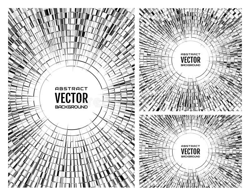 Gesetzte geometrische einfarbige graue Illustration von gelegentlichen abstrakten radialformen Discoballhintergrund lizenzfreie abbildung