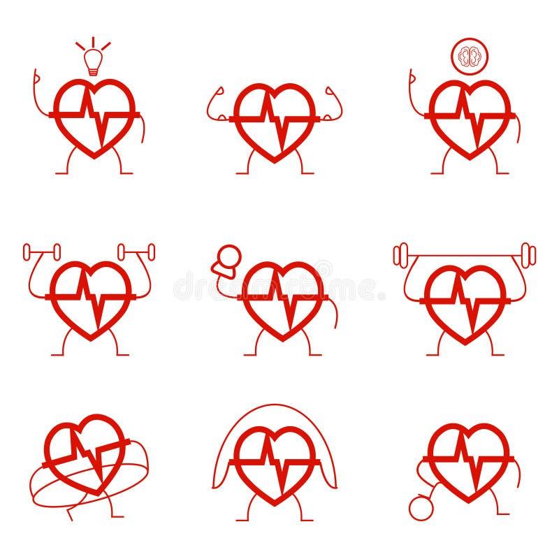 Gesetzte Gesundheit der Herzenergie Herz lizenzfreie abbildung