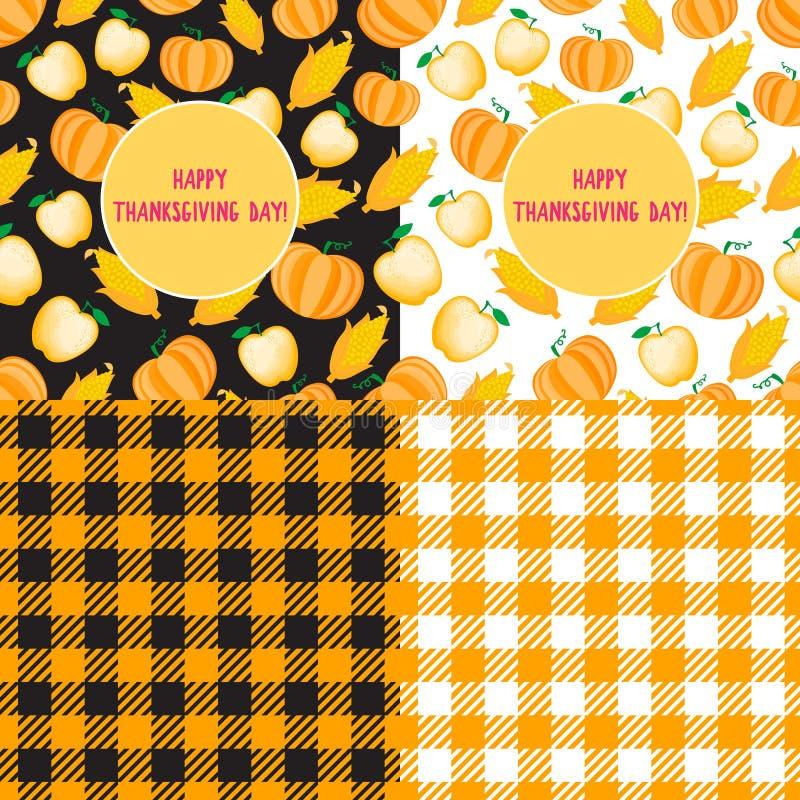 Gesetzte glückliche Danksagungs-Tageskarte Karikaturkornähre nahtloses Muster Vektor ilustration lokalisiert Zellhintergrund stock abbildung