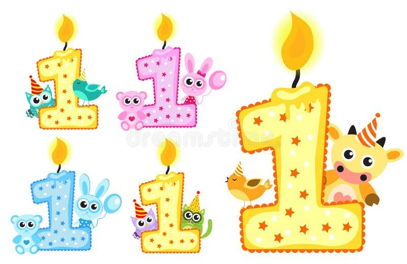 Gesetzte glückliche erste Geburtstags-Kerze und Tiere lokalisiert auf weißem Hintergrund Auch im corel abgehobenen Betrag stock abbildung