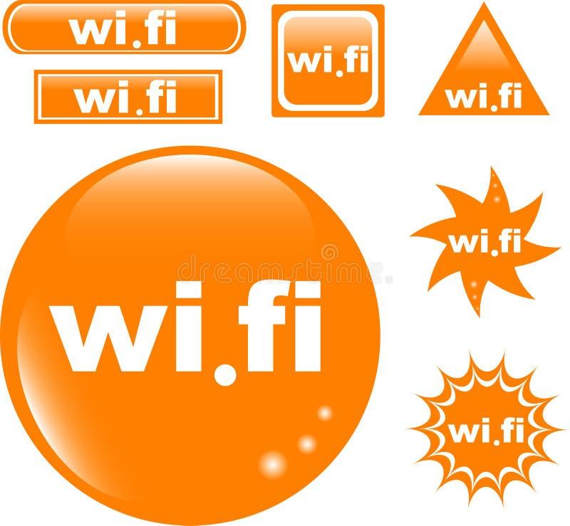 Gesetzte glatte Ikone der Wi-FI-Taste vektor abbildung