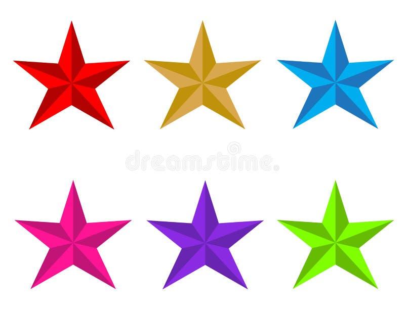 Gesetzte glatte Sternikone auf weißem Hintergrund Flache Art Rot, Gold, Blau, Rot, Gold, Blau, UFO-Grün, Plastikrosa, Proton-Purp stock abbildung
