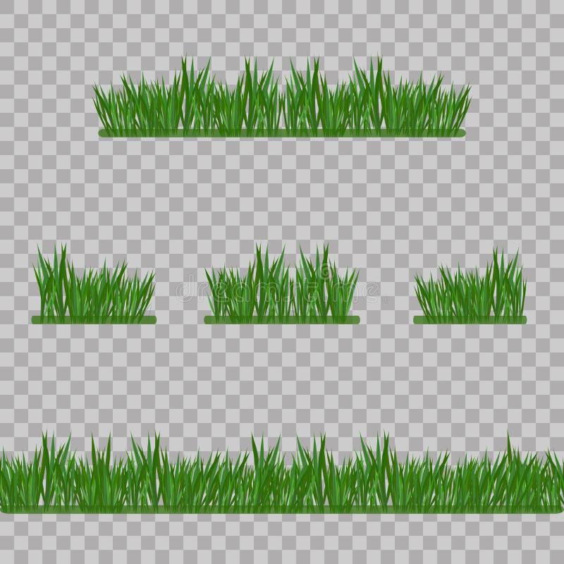Gesetzte grünes Gras-Grenzen, Vektor-Illustration Abstrakte Feldbeschaffenheit Symbol des Sommers, der Anlage, des eco und des na stock abbildung