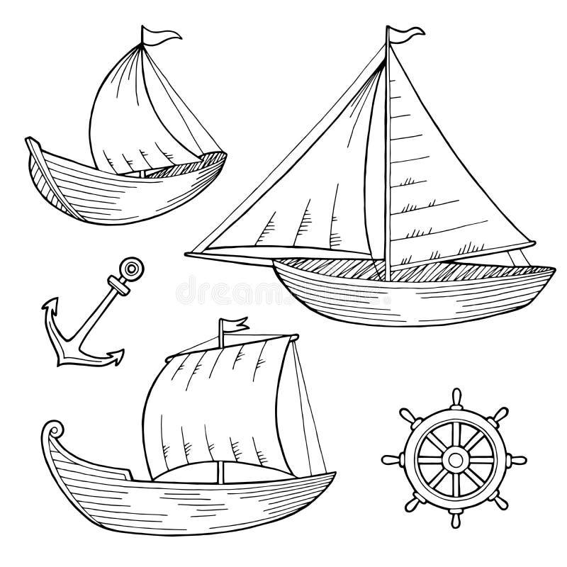 Gesetzte grafische schwarze weiße Skizzenillustration des Bootes stock abbildung