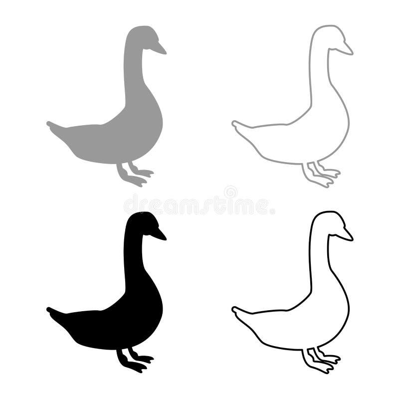 Gesetzte graue schwarze Farbe der Gansikone stock abbildung