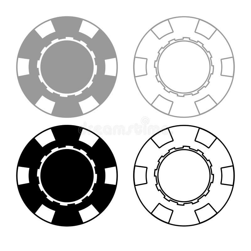 Gesetzte graue schwarze Farbe des Kasinochipikonen-Entwurfs vektor abbildung