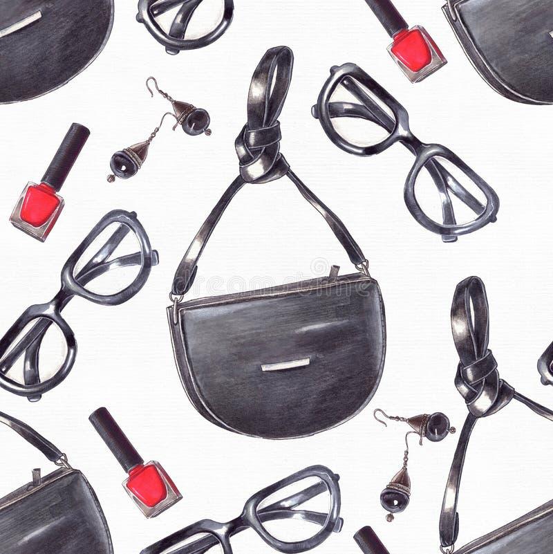 Gesetzte Hand der Mode gezeichnet in helle Farben mit Bleistiften und Zwischenlage in den roten und schwarzen Farben auf weißem A stockfotografie