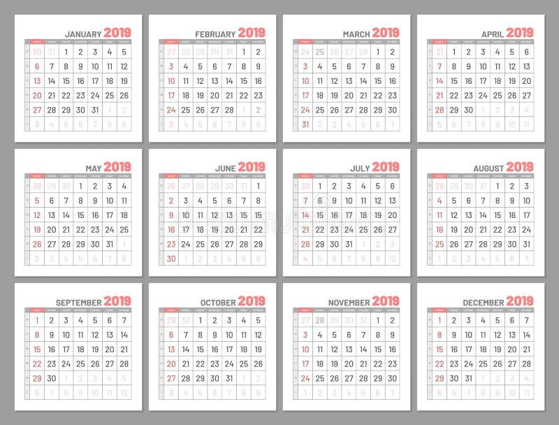Gesetzte identische helle Minikalender, 2019, Monate, flach stock abbildung