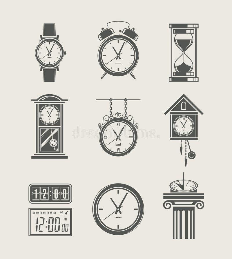 Gesetzte Ikone der Retro- und modernen Borduhr lizenzfreie abbildung