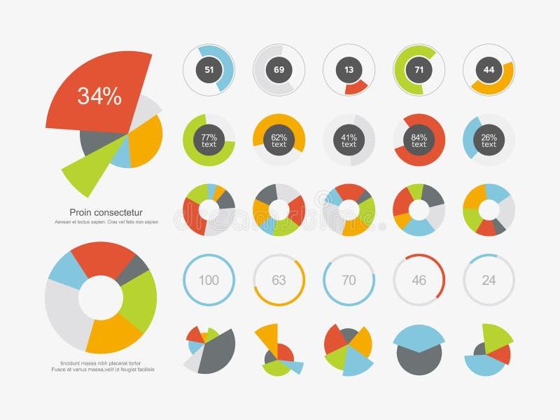 Gesetzte Ikone des Infographic-Element-Kreisdiagramms stock abbildung