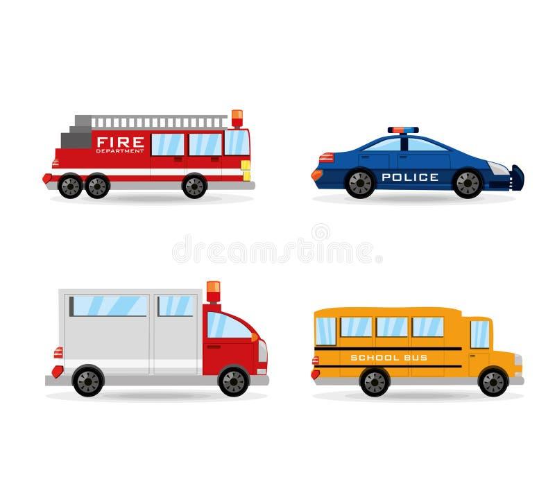 Gesetzte Ikone des Löschfahrzeugs, der Polizei, des Krankenwagens und des Busses flach lizenzfreie abbildung