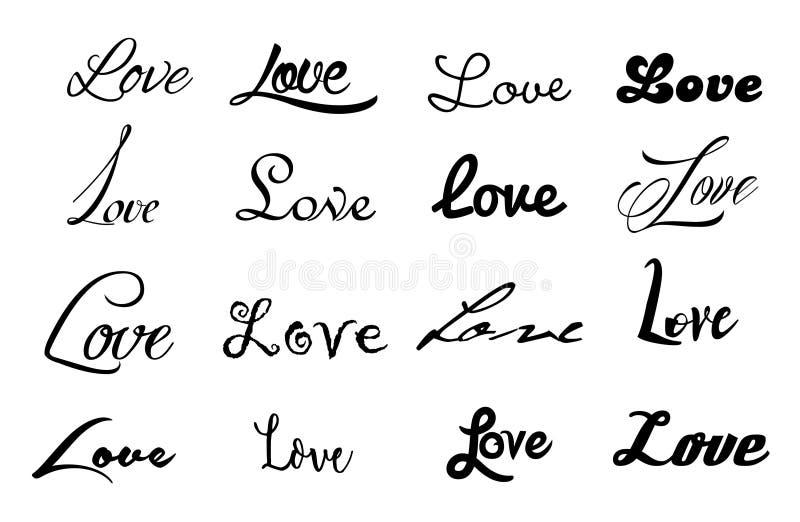 Gesetzte Ikone des Vektors von 16 Wort Liebe stock abbildung