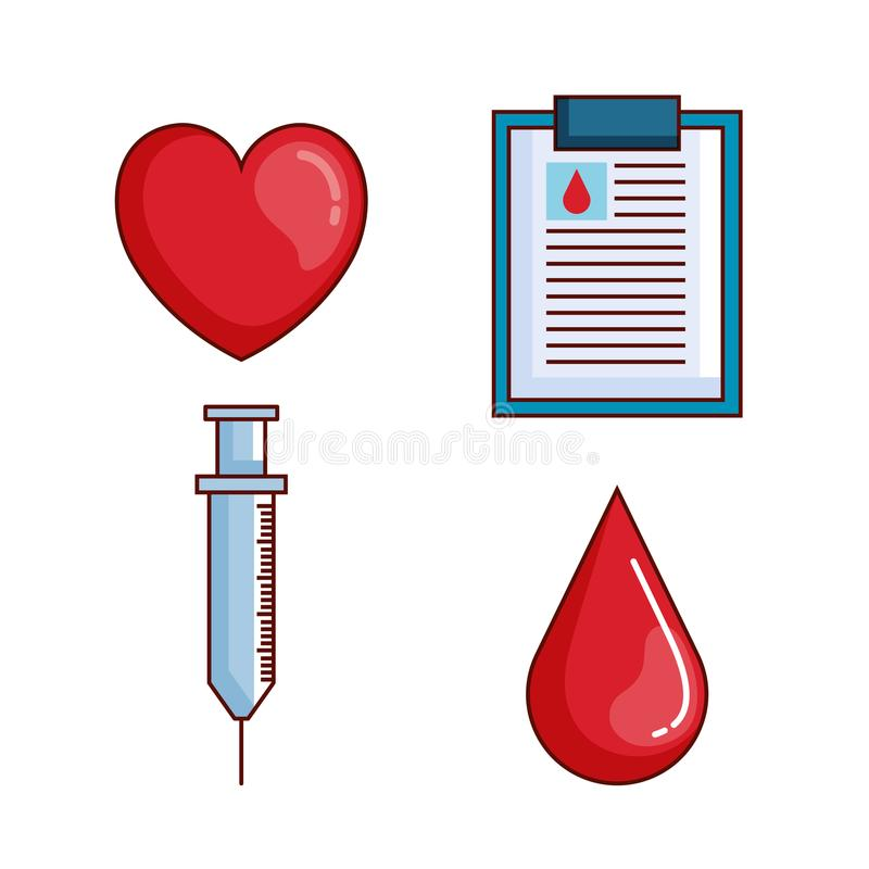 Gesetzte Ikonen der Blutspende lizenzfreie abbildung
