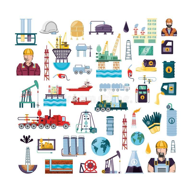 Gesetzte Ikonen der Erdölindustrie stock abbildung