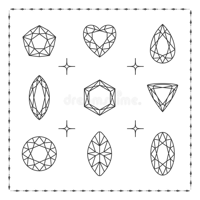 Gesetzte Ikonen des Diamanten stock abbildung