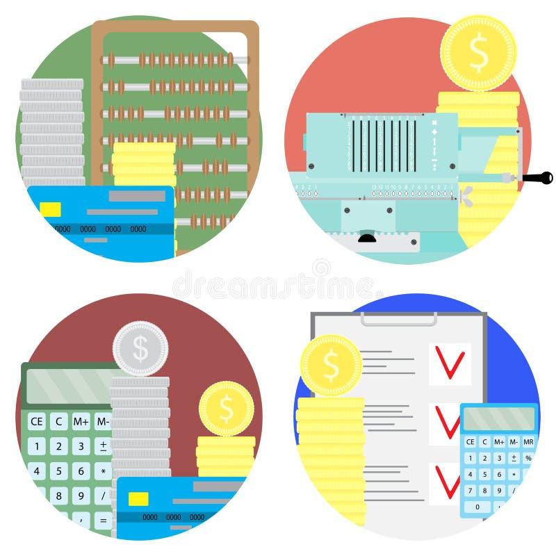 Gesetzte Ikonen des Finanzprüfungs- und Geldkontos stock abbildung