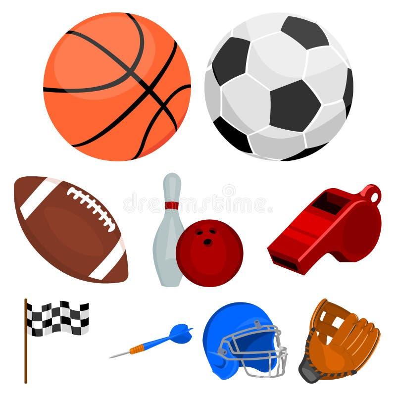 Gesetzte Ikonen des Sports und der Eignung in der Karikaturart stock abbildung