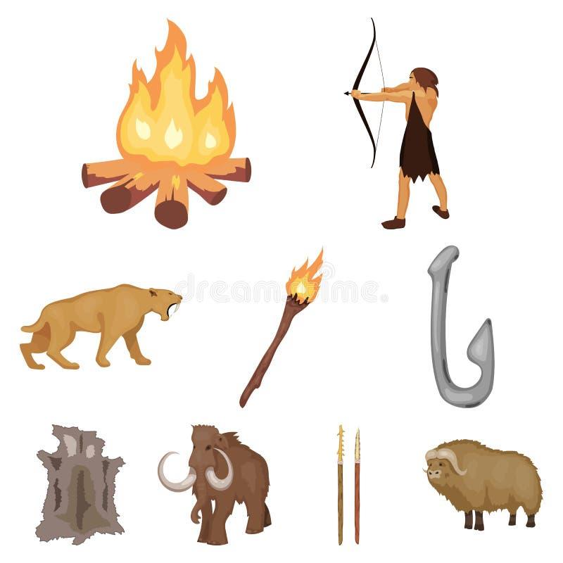 Gesetzte Ikonen des Steinzeitalters in der Karikaturart Große Sammlung der Steinzeitaltervektorsymbol-Vorratillustration lizenzfreie abbildung