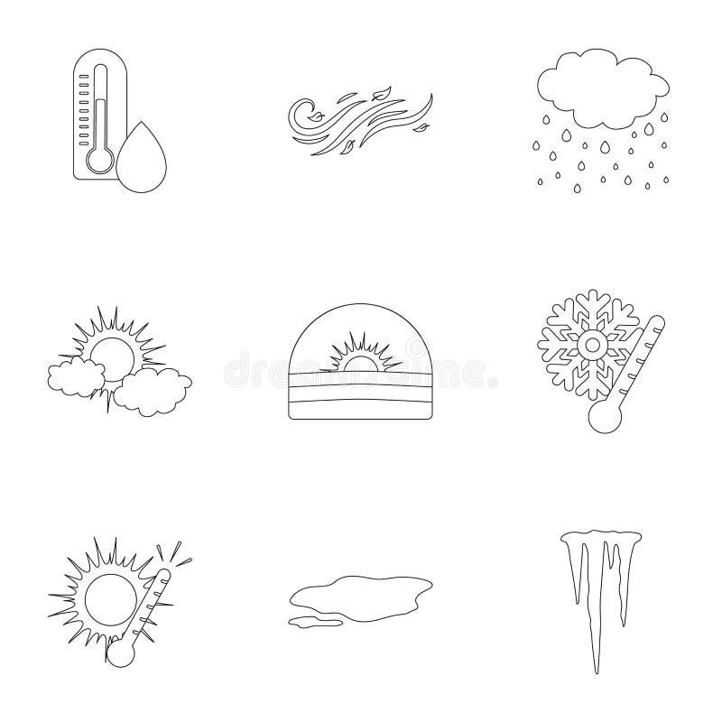 Gesetzte Ikonen des Wetters in der Entwurfsart Große Sammlung der Wettervektorsymbol-Vorratillustration stock abbildung