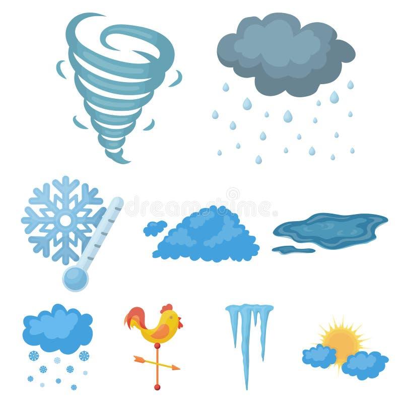 Gesetzte Ikonen des Wetters in der Karikaturart Große Sammlung der Wettervektorsymbol-Vorratillustration lizenzfreie abbildung