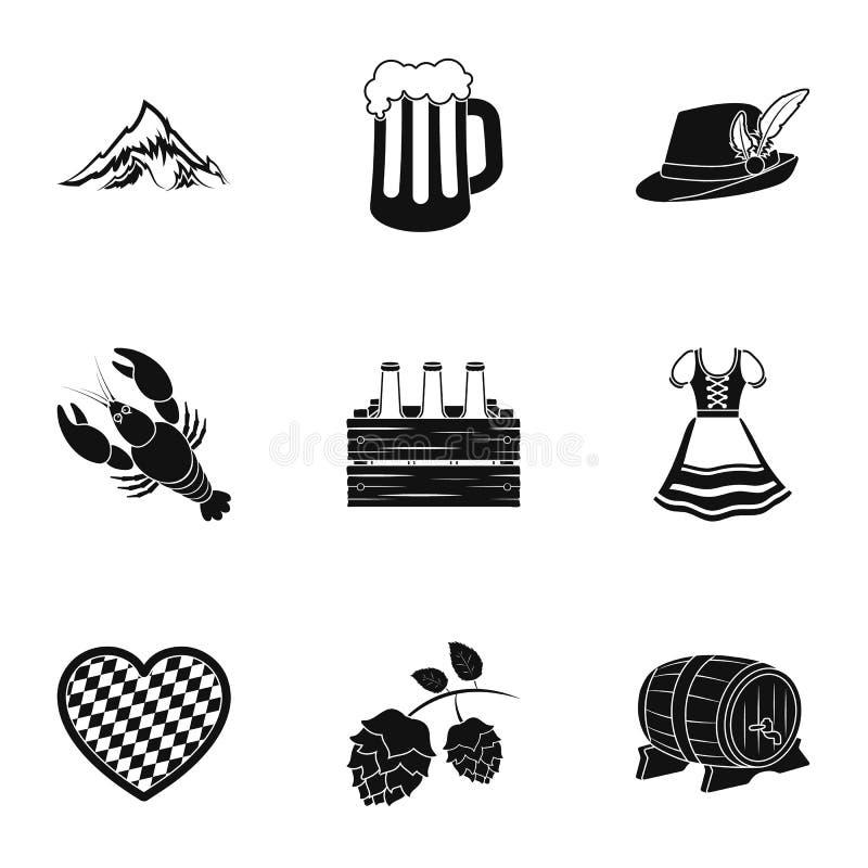 Gesetzte Ikonen Oktoberfest in der schwarzen Art Große Sammlung der Oktoberfest-Vektorsymbol-Vorratillustration stock abbildung