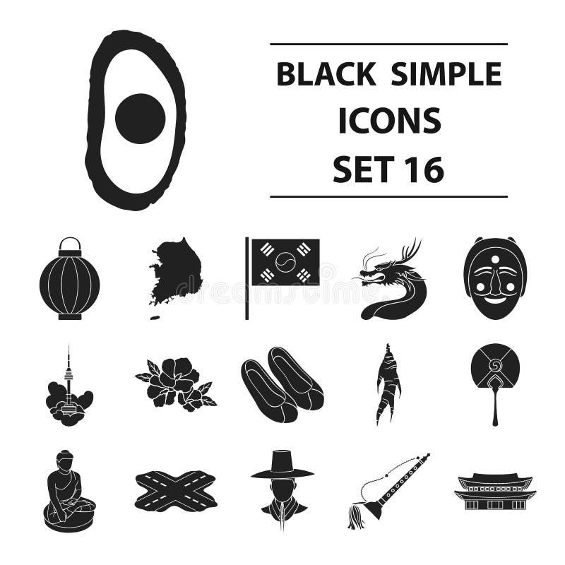 Gesetzte Ikonen Südkoreas in der schwarzen Art Große Sammlung Südkorea-Vektorsymbol-Vorratillustration lizenzfreie abbildung