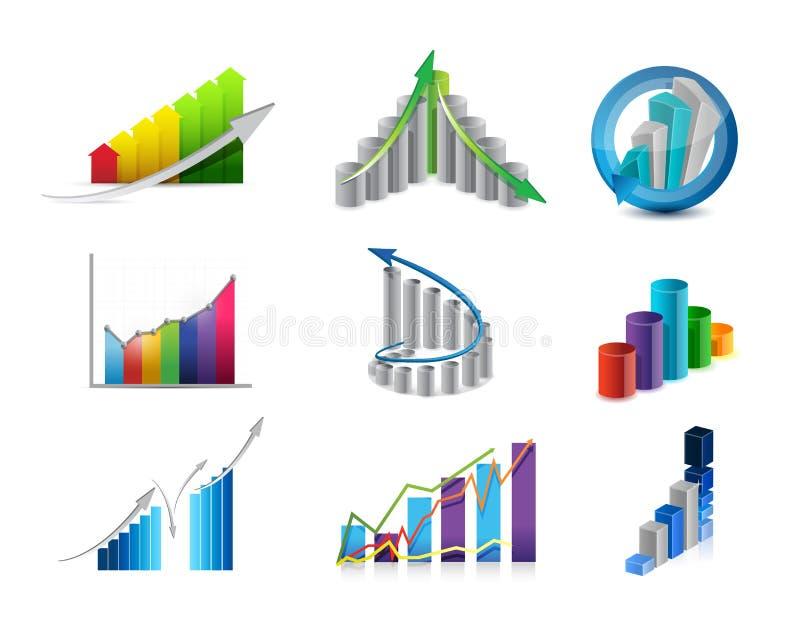 gesetzte Illustration der Geschäftsdiagramm-Ikone lizenzfreie abbildung