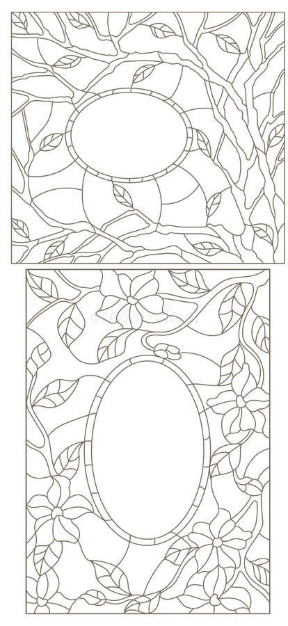 Gesetzte Illustration der Kontur mit Buntglas in einem abstrakten Rahmen mit Blumen, Blättern und Niederlassungen stock abbildung