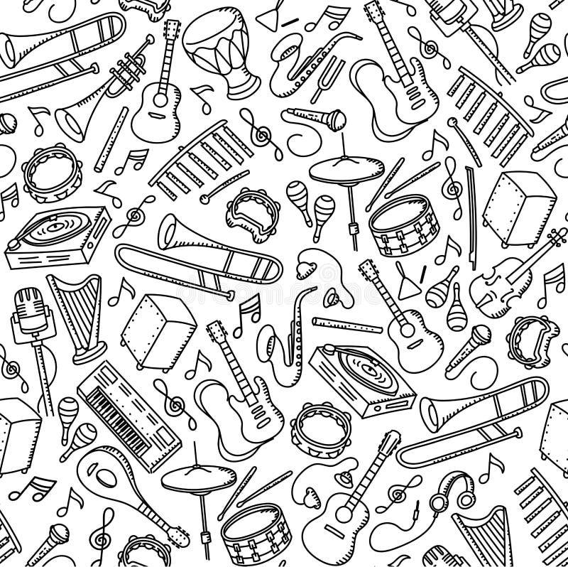 Gesetzte Illustration der nahtlosen Musterhintergrund Musikinstrumentkinderhandzeichnung vektor abbildung