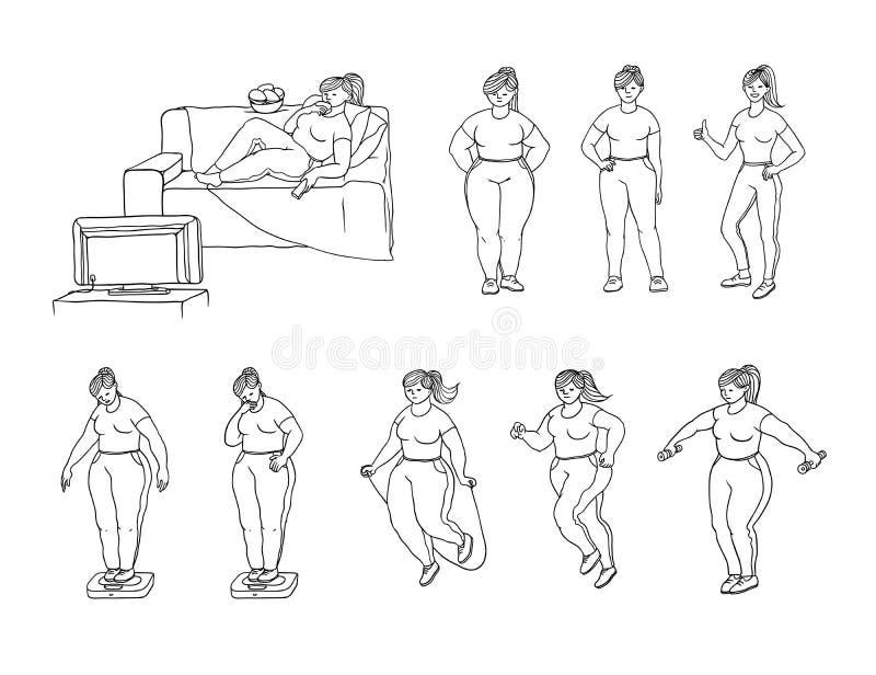Gesetzte Illustration der Vektorskizze von, wie ein fettes Mädchen Gewicht verliert Junge Frau essen und Maße das Gewicht auf Ska vektor abbildung